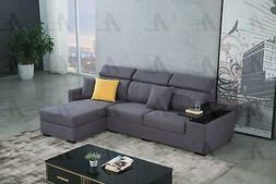 Purple Velvet Sectional Sofa Bed w/Storage Right Chaise Amer