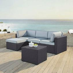 Rattan Wicker Sofa Set 5/6 PCS Sectional Couch Cushioned Fur