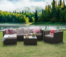 rattan wicker sofa set sectional couch cushioned