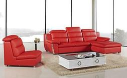 Red Bonded Leather Sectional Set Left 3Pcs American Eagle AE