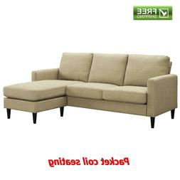 Reversible Sectional Sofa Beige Spring Seat Chaise Couch Lov