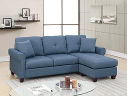 Reversible Sectional Sofa Blue Color Polyfiber Wooden Legs T