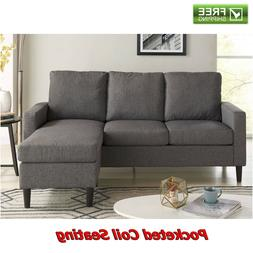 Reversible Sectional Sofa Grey Fabric Chaise Couch Loveseat
