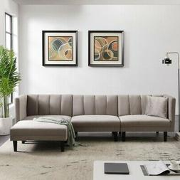 REVERSIBLE SECTIONAL SOFA SLEEPER WITH 2 PILLOWS LIGHT GREY