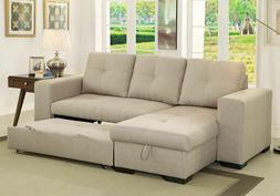 Reversible Storage Chaise Sofa Ivory Contemporary Sectional