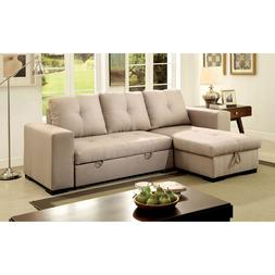 Furniture of America Rhea Sectional Sofa with Pull Out Sleep
