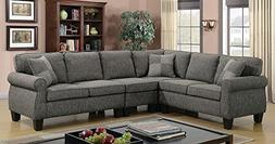 Rhian Dark Gray Fabric Sectional Sofa by Furniture of Americ