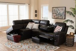 roland faux leather reclining sectional