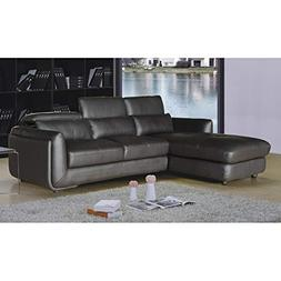 AC Pacific Ron Modern Brown Leather 2-Piece Sofa and Chaise