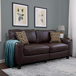 "Serta RTA Palisades Collection 73"" Bonded Leather Sofa in Ch"
