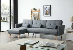 Greatime S2601 Fabric Convertible section Sofa