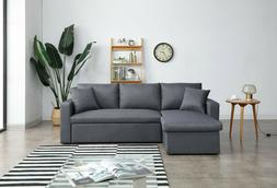 Greatime S2602 Fabric Convertible section Sofa