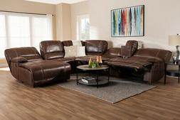 Baxton Studio Salomo Brown Faux Leather 6-Piece Sectional So