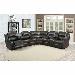 Samara Family Bonded Leather Reclining Sectional Sofa Brown