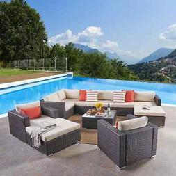 santa rosa outdoor 8 seater wicker sectional
