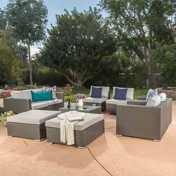 Santa Rosa Outdoor Wicker 9-Piece Sectional Sofa with