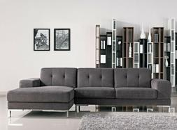 Sectional Living Room Furniture Chaise Sofa Fabric Grey Soli