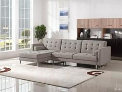 Sectional Set Living Room Furniture Brown Tufted Couch Chais