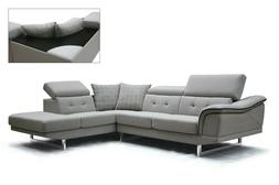 Sectional Set Living Room Furniture Chaise Sofa Fabric Grey