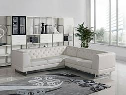 Sectional Set Living Room Furniture White Tufted Leatherette