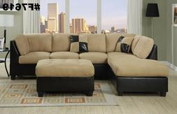 Sectional Sofa 3 pcs Sectional Couch in Microfiber Sectional