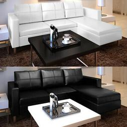 vidaXL Sectional Sofa 3-Seater Faux Leather Home Couch Seati