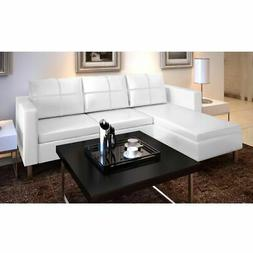 vidaXL Sectional Sofa 3-Seater Artificial Leather White Livi