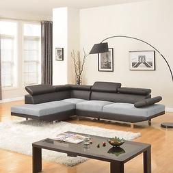 2PC Sectional Sofa Black/Grey Modern 2-Tone Microfiber Bonde