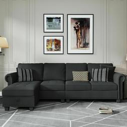 Sectional Sofa Convertible Couch L Shape Sofa Couch 4-seat D
