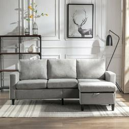 Sectional Sofa Convertible Couch Linen L Shape Sofa 3-seat G