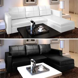 Sectional Sofa Faux Leather Reversible Corner Couch Chaise L