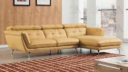 Sectional Sofa Left Hand Chase Italian Leather 2pcs American