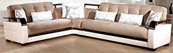 Natural Sectional Sofa in Naomai Light Brown