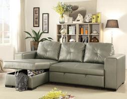 Sectional Sofa Reversible Storage Chaise Couch Pull Out Bed