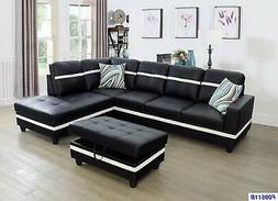 Beverly Fine Funiture Sectional Sofa Set Black with White St