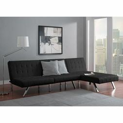 Sectional Sofa Set Convertible Sleeper Faux Couch Futon Chai