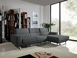 Sectional Sofa Set Living Room Furniture Dark Grey Couch Cha
