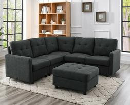 Sectional Sofa Set Modern Linen Fabric with Reversible Chais