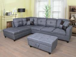 AYCP Furniture Sectional Sofa Set with Ottoman, Gray MicroFi