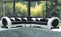 Sectional Sofa w Console Rolled Headrest Black & White Couch