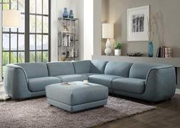 sectional sofa w ottoman blue fabric tight