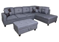AYCP Furniture Sectional Sofa with Storage Ottoman, Gray Mic
