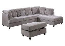 AYCP Furniture Sectional Sofa with Storage Ottoman, Grey Cor