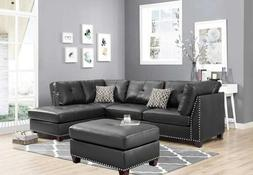Sectional Sofas Set Faux Leather Chaise Lounges w/ Rivet Lac