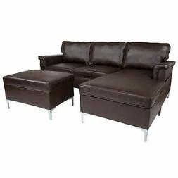 Flash Furniture Sectional With Chaise and Ottoman Set BT-S83