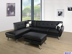Beverly Fine Furniture SH3103B Sectional Sofa Chaise Set, Bl