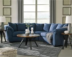 Signature Design by Ashley Darcy Sectional in Blue Microfibe