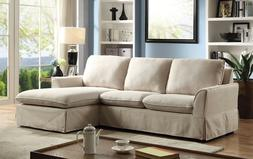 simple beige upholstery sectional sofa living room