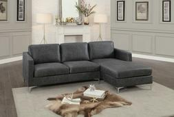 sleek grey gray polyester fabric sofa chaise
