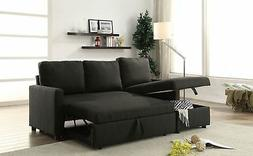 Sleeper Sofa Pull Out Bed Reversible Sectional w/Storage Cha